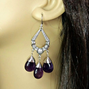 Antiqued Silver Amethyst Chandelier Earrings